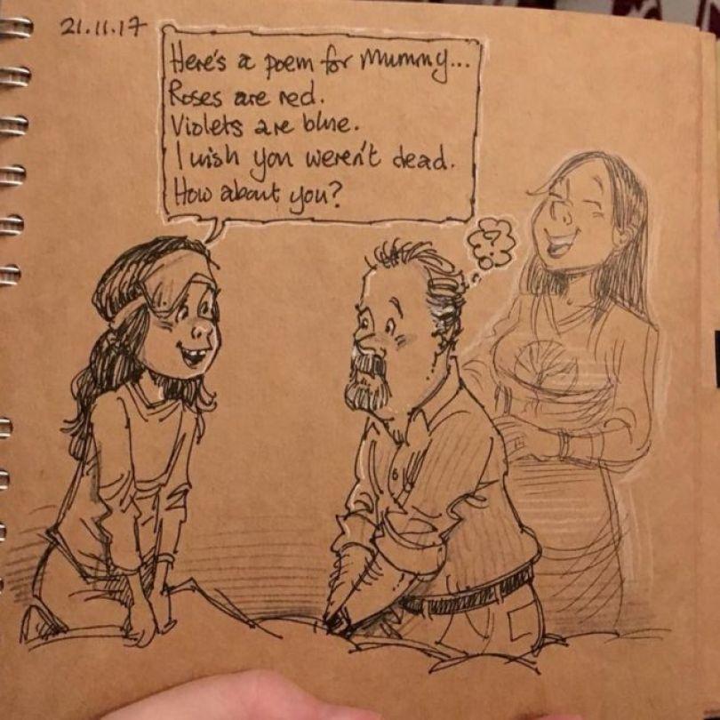 Desenho de Gary sobre poema da filha