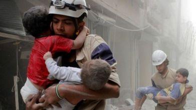 Members of the White Helmets in Aleppo, June 2014