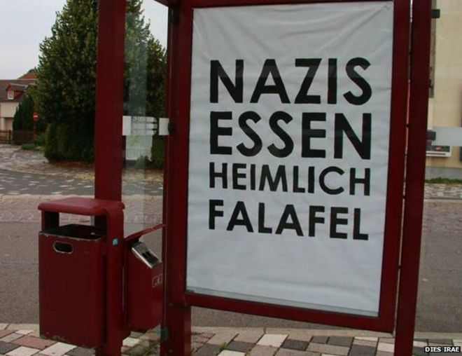 A poster reading 'Nazis secretly eat falael'