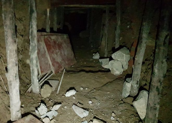 A view inside the 25ft tunnel that the thieves dug