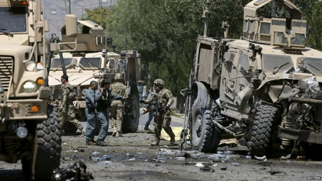 Nato forces at scene of blast in Kabul