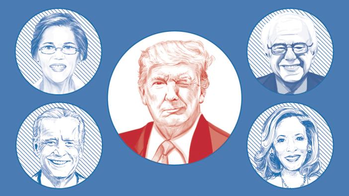 Composición que muestra a Donald Trump en el centro guiñándole un ojo a posibles contrincantes demócratas como Elizabeth Warren, Bernie Sanders, Joe Biden y Kamala Harris