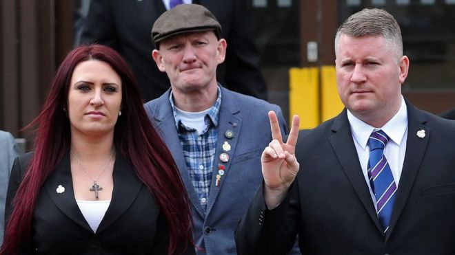 Jayda Fransen (left) and Paul Golding (right) arriving at court to hear the verdicts - 7/3/18