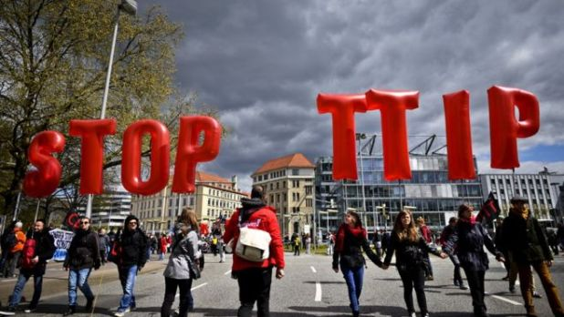 Protesters rallying against the TTIP and CETA free trade agreements in Hanover (23 April)