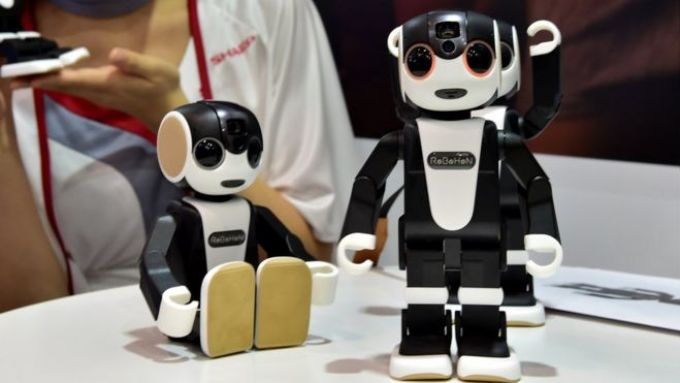 Robohon robots on a table