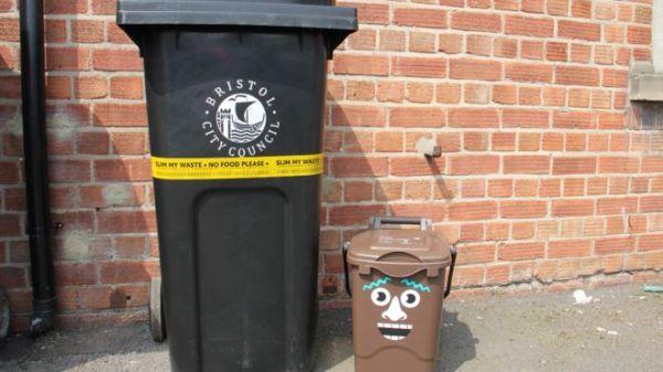 Stickers on bins