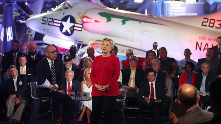 Hillary Clinton speaks at the Commander-in-Chief forum.