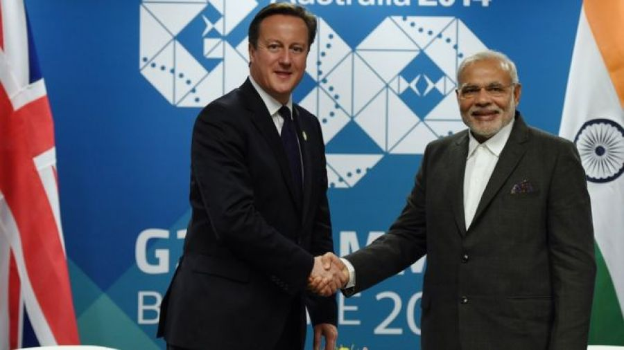 British Prime minister David Cameron (left) shakes hands with Indian Prime Minister Narendra Modi during a bilateral meeting at the Brisbane Convention and Exhibitions Centre (BCEC) on November 14, 2014 in Brisbane Australia.