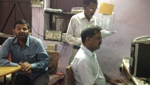 Local journalists in Shahjahanpur in their shared office space