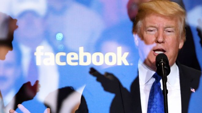 Logotipo de Facebook y Donald Trump