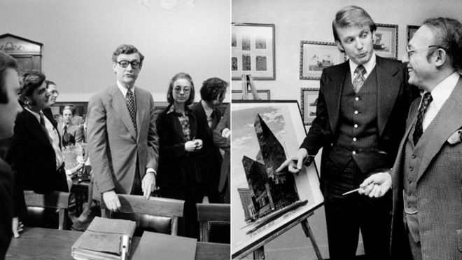 Hillary Rodham, a lawyer for the Rodino Committee and John Doar, Chief Counsel for the committee, bring impeachment charges against President Richard Nixon in the Judiciary Committee hearing room at the US Capitol in 1974 in Washington, DC / Donald Trump with Alfred Eisenpreis, New York City Economic Development Administrator. Sketch of new 1,400 room Renovation project of Commodore Hotel, 1976.