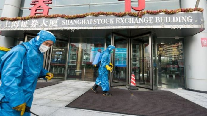 Disinfectant being sprayed outside Shanghai exchange