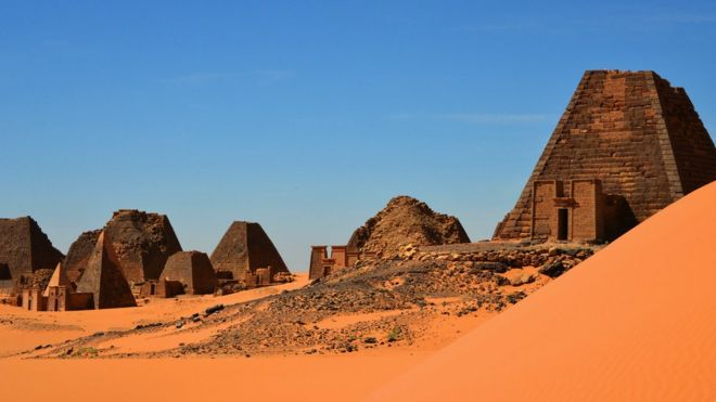 Meroe pyramids at the UN-designated World Heritage Site at al-Bajrawiya in Sudan