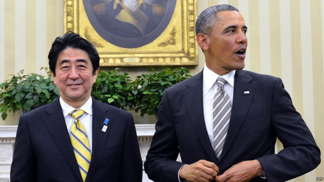 Shinzo Abe (left) and Barack Obama