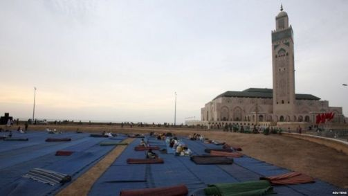 Islamic prayer rugs near the Hassan II Mosque for the faithful in Casablanca