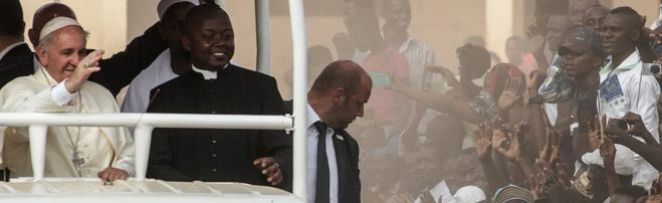The Pope waving in Bangui, CAR