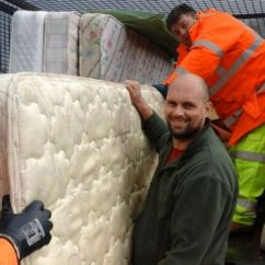 Council Sofa Collection Cardiff Blanket Cover The Bulky Charges For Waste Disposal By Welsh Councils Bbc News Photo Of Staff Collecting Old Mattresses