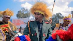 Hachalu on a horse commemorating Oromo horsemen who fought and defeated Italy on the Battle of Adwa in 1896 - March 2019