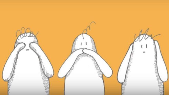 Muñecos que no quieren ver, hablar ni escuchar. Ilustración de Fruit Fly Collective