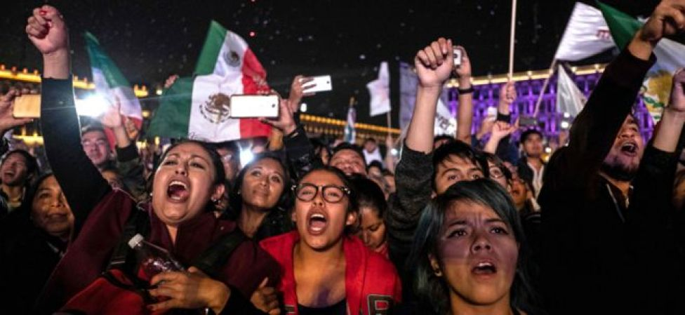 Women cheering after Mexico election results