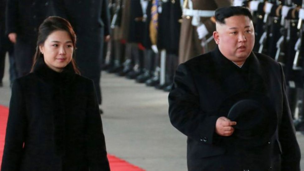 North Korean leader Kim Jong-un and his wife Ri Sol-ju as they prepare to leave for China from Pyongyang, North Korea, 7 January 2019