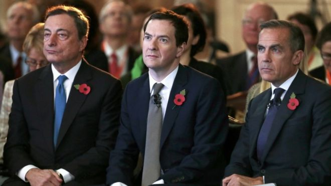 Mario Draghi, George Osborne and Mark Carney
