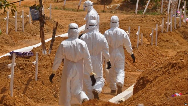 Ebola burial workers in Liberia