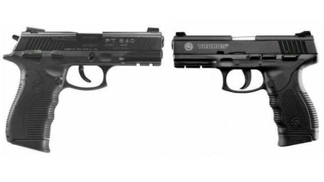 Fotomontagem com as pistolas proibidas pelo Exército