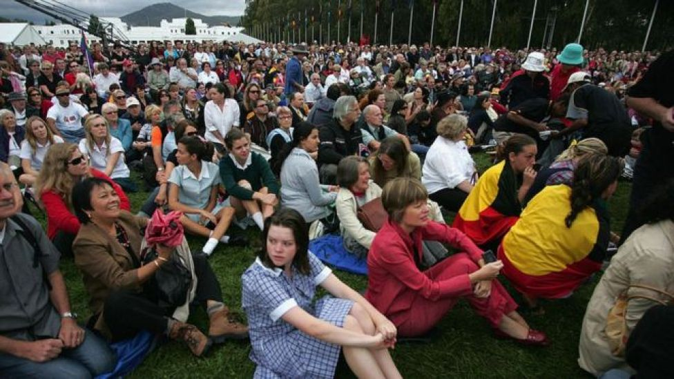 Australians gather to watch the government's long-awaited apology to the Stolen Generations in 2008