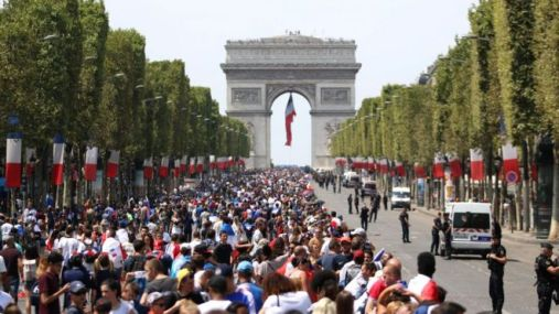 Preperations for celebrations on the Champs Elysées, 16 July