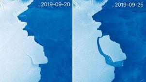 Imagem mostra iceberg se descolando de placa na Antártida
