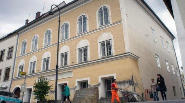 A memorial stone outside the house where Adolf Hitler was born in Braunau Am Inn
