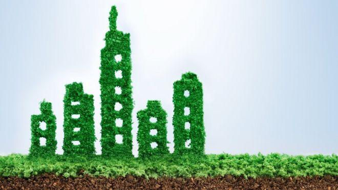 Concepto de edificio verde