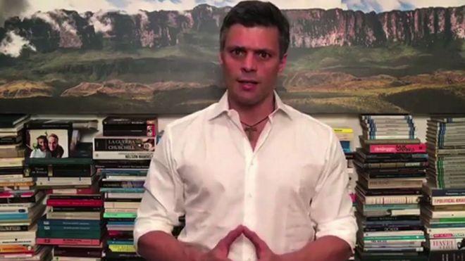 Leopoldo López en un mensaje televisado.