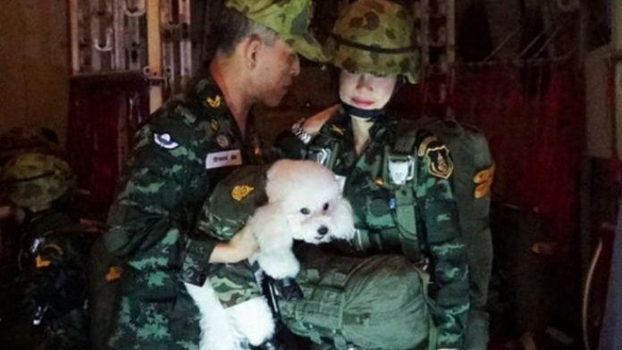 Sineenat Wongvajirapakdi, en esta fotografía junto al rey Maha Vajiralongkorn, es piloto, enfermera y guardaespaldas.