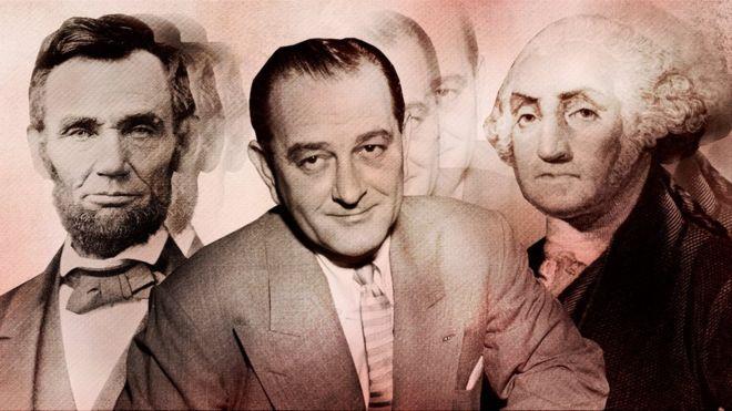 Abraham Lincoln (lizq), Lyndon B. Jonhson (medio) y George Washington