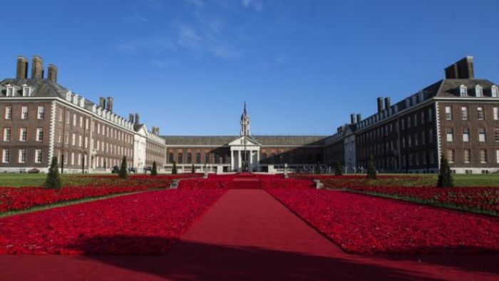 Display of crocheted poppies at Chelsea Flower Show