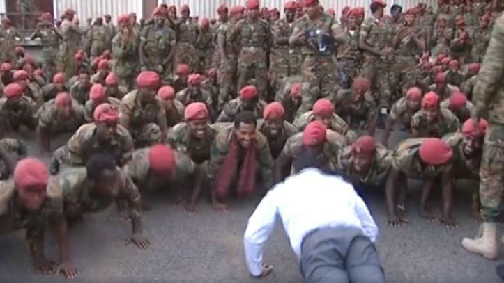 Screen grab of PM doing press-ups