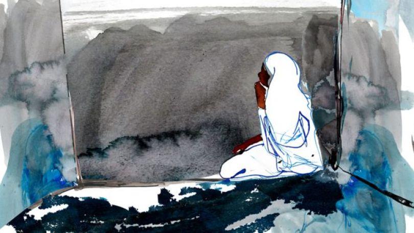 Ilustração de Noura na prisão