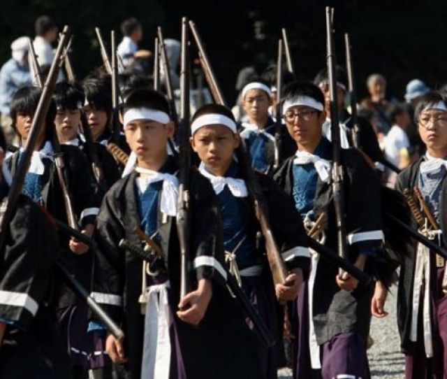 Japanese Boys Taking Place In Historical Re Enactment