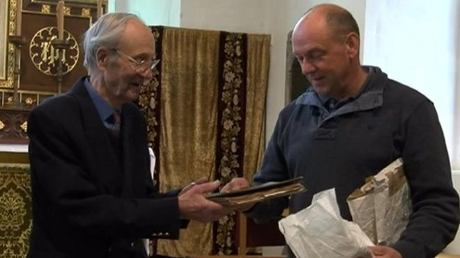 Colin Peal and Bob Watson with 200 year old recipe book