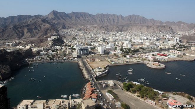 An aerial view of Aden city centre in southern Yemen on 22 November, 2010