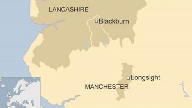 Map of Manchester and Lancashire