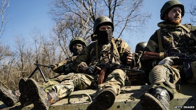 Pro-Russian rebels take part in military drill near eastern Ukrainian city of Donetsk. 10 April 2015