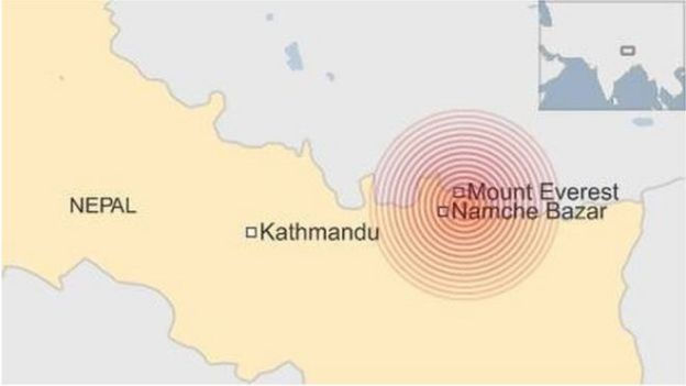 map showing quake epicentre - Namche Bazar - 12 May 2015