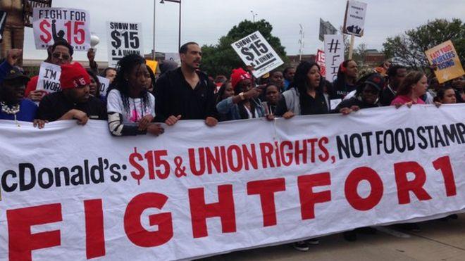 Protesters at Oak Brook, Illinois, 20 May 2015