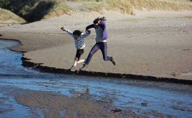 Kerry and Ella on the Ayrshire Coastal Path