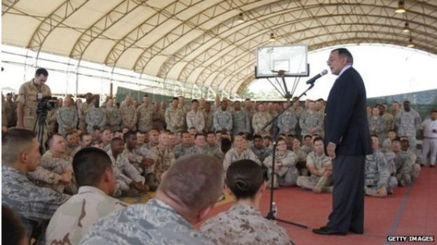 US Secretary of Defence Leon Panetta visits Camp Lemonnier in Dijbouti in 2011