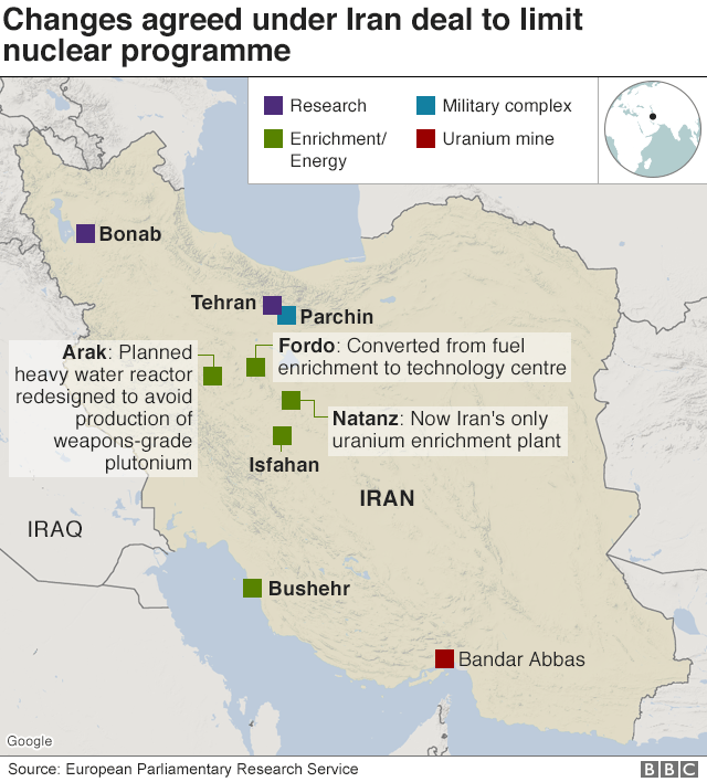 Map showing changes agreed under Iran deal to limit nuclear programme