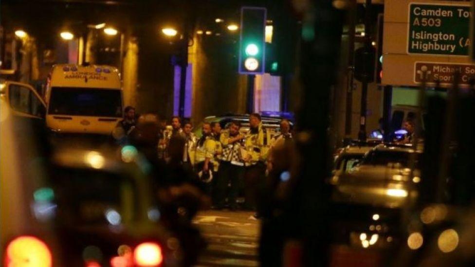 Paramedics near the scene of Finsbury Park Mosque